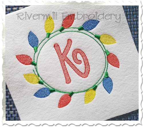 Christmas Lights Monogram Frame Machine Embroidery Design