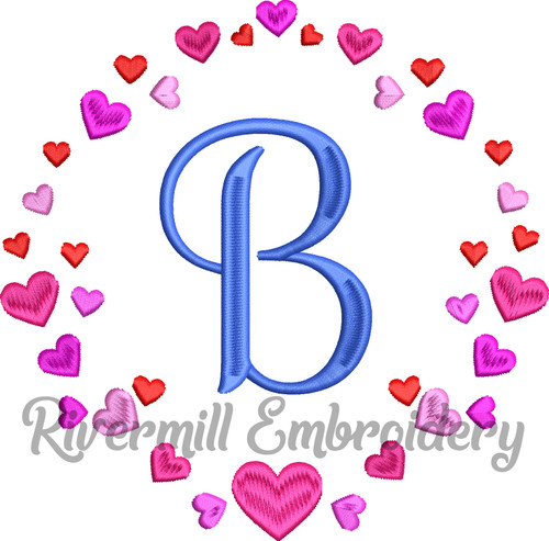 Circle of Hearts Monogram or Initial Frame Machine Embroidery Design