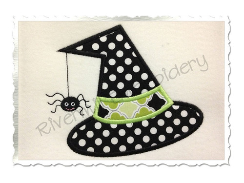 Applique Witch Hat With A Spider Machine Embroidery Design