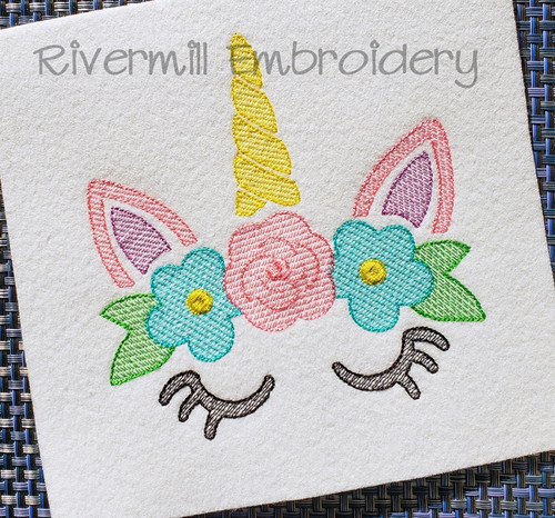 Sketch Style Unicorn With Flowers Machine Embroidery Design