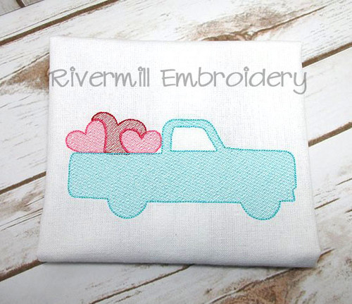 Sketch Style Truck w/ Hearts Machine Embroidery Design