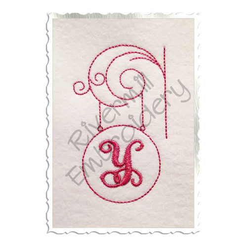 Bean Stitch Initial or Monogram Frame Machine Embroidery Design (#6)