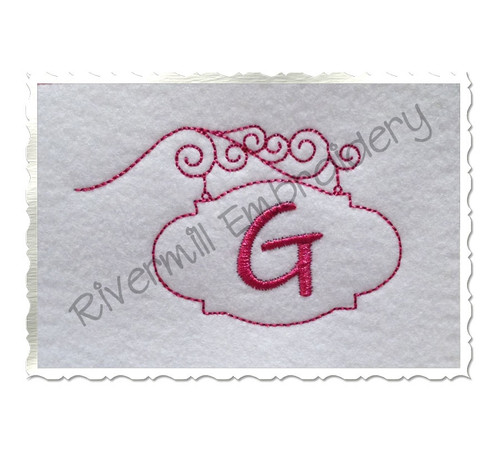Bean Stitch Initial or Monogram Frame Machine Embroidery Design (#8)