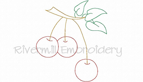 Cherries Vintage Style Machine Embroidery Design