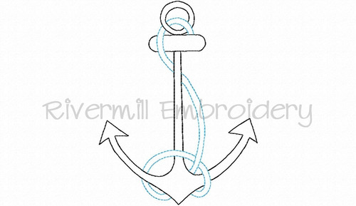 Vintage Style Anchor Machine Embroidery Design