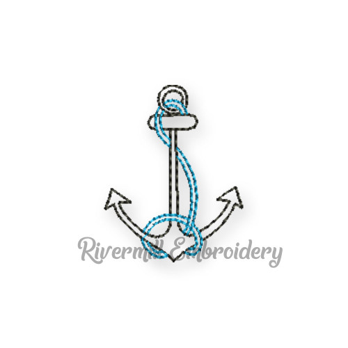 Small Vintage Style Anchor Machine Embroidery Design