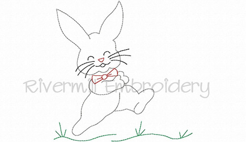 Bunny Rabbit Vintage Style Machine Embroidery Design