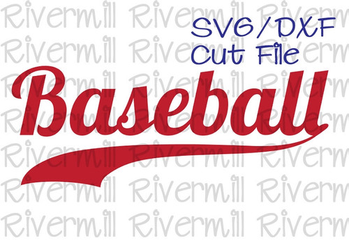 SVG DXF Baseball With Swash Cut File