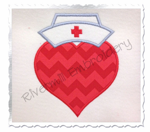 Applique Heart With Nurse Hat Machine Embroidery Design