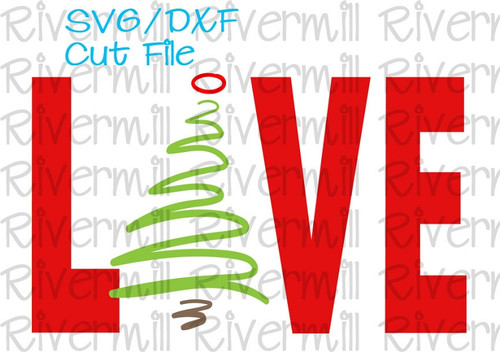SVG DXF Scribble Christmas Tree Love Cut File