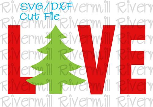 SVG DXF Christmas Tree Love Cut File