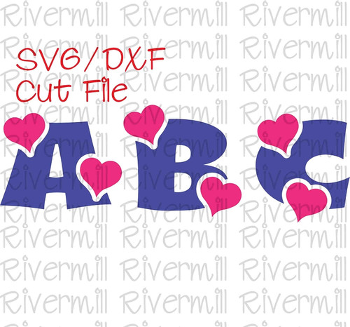 Heart Alphabet Cut Files - 26 Letters