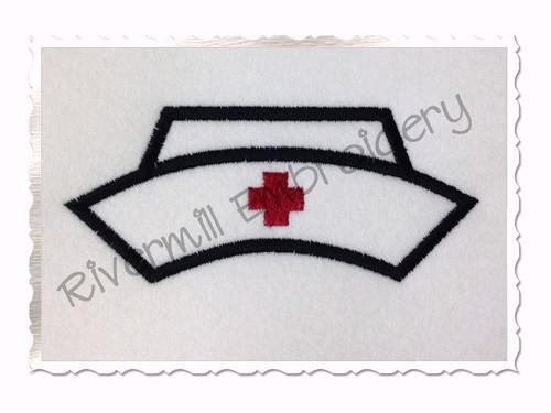Applique Nurse Hat Machine Embroidery Design