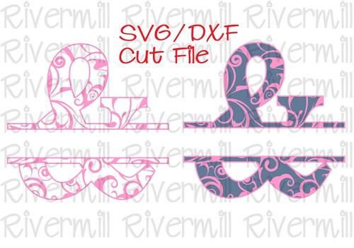 SVG DXF Split Ampersand With Swirls Cut File