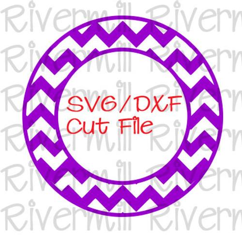 SVG DXF Chevron Circle Monogram Frame Cut File