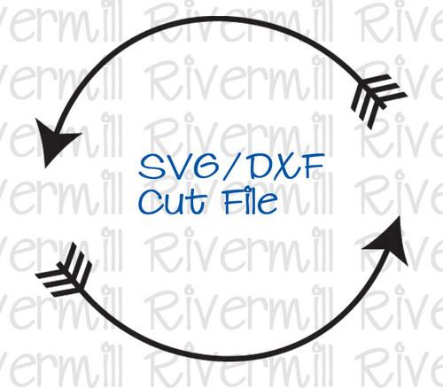 SVG DXF Circle Arrow Monogram Frame Cut File