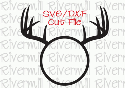 SVG DXF Deer Antlers Circle Monogram Frame Cut File