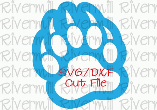 SVG DXF Bear Paw With Outline Cut File