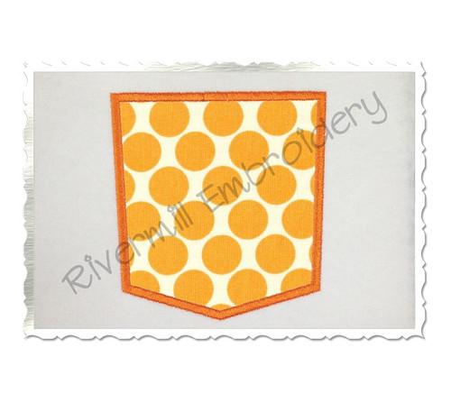 Applique Faux Pocket Machine Embroidery Design