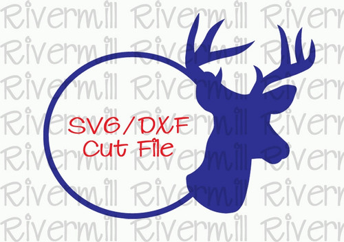 SVG DXF Deer Buck Silhouette Monogram Frame Cut File
