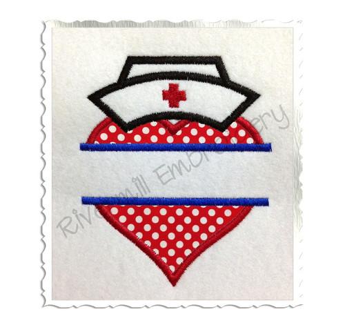 Split Applique Heart With Nurse Hat Machine Embroidery Design