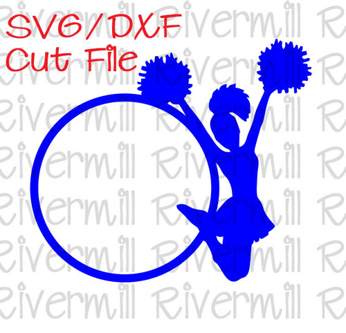 SVG DXF Cheerleader Monogram Frame Cut File