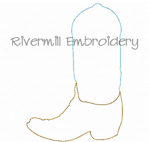 Raggy Applique Cowboy Boot Machine Embroidery Design