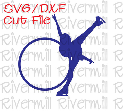 SVG DXF Figure Skater Monogram Frame Cut File