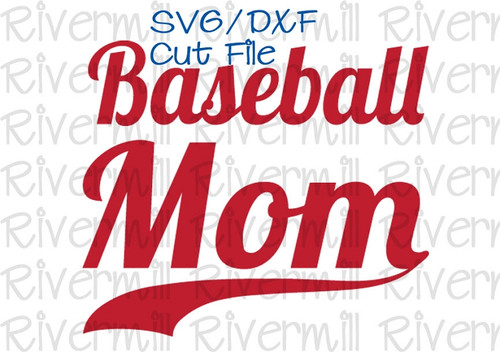 SVG DXF Baseball Mom With Swash Cut File