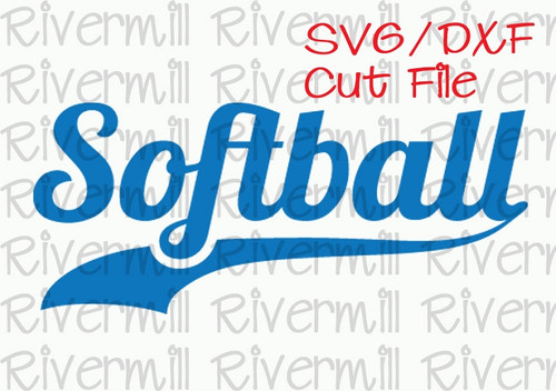 SVG DXF Softball with Swash Tail Cut File