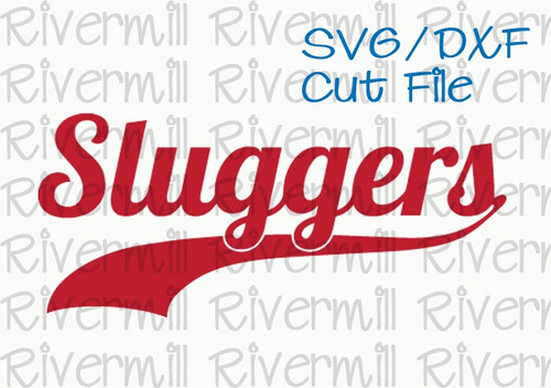 SVG DXF Sluggers with Swash Tail Cut File