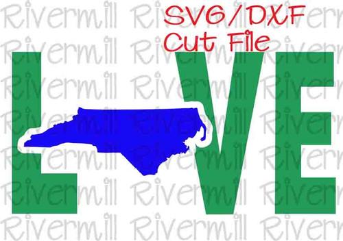 SVG DXF North Carolina Love Cut File