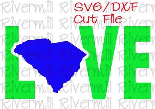 SVG DXF South Carolina Love Cut File