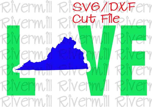 SVG DXF Virginia Love Cut File