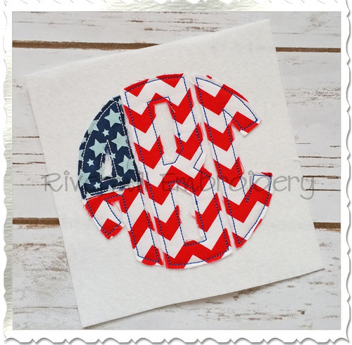 Patriotic Flag Round 3 Letter Monogram Raggy Applique Machine Embroidery Alphabet Font