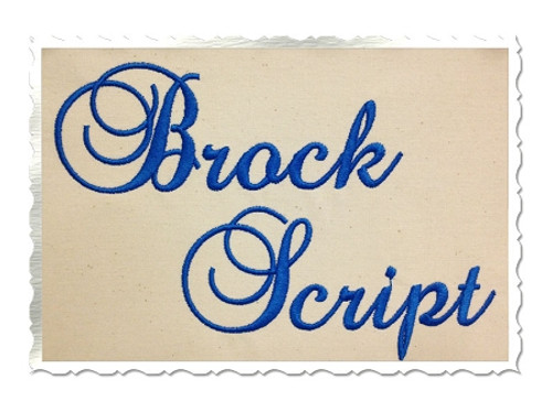 Brock Script Machine Embroidery Font Alphabet
