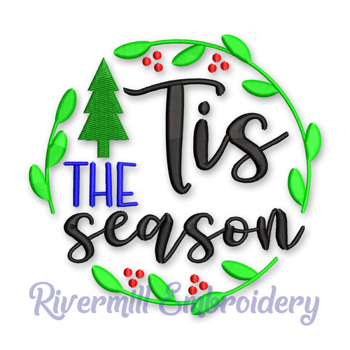 Tis The Season Christmas Machine Embroidery Design
