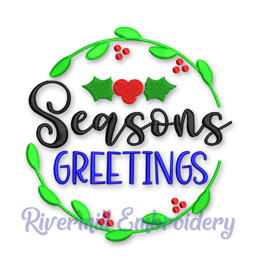 Seasons Greetings Christmas Machine Embroidery Design
