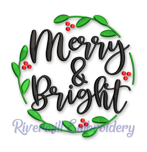 Merry and Bright Christmas Machine Embroidery Design
