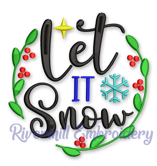 Let It Snow Christmas Machine Embroidery Design