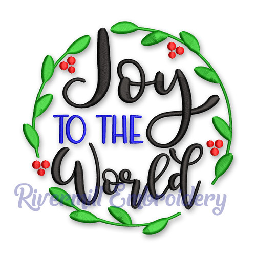Joy To The World Christmas Machine Embroidery Design