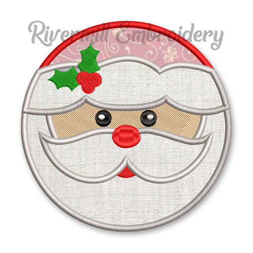 Round Santa Claus Face Applique Machine Embroidery Design