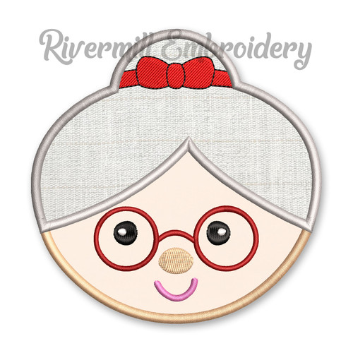 Round Mrs Claus Face Applique Machine Embroidery Design