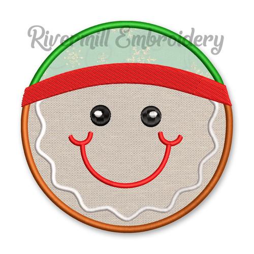 Round Gingerbread Boy Face Applique Machine Embroidery Design