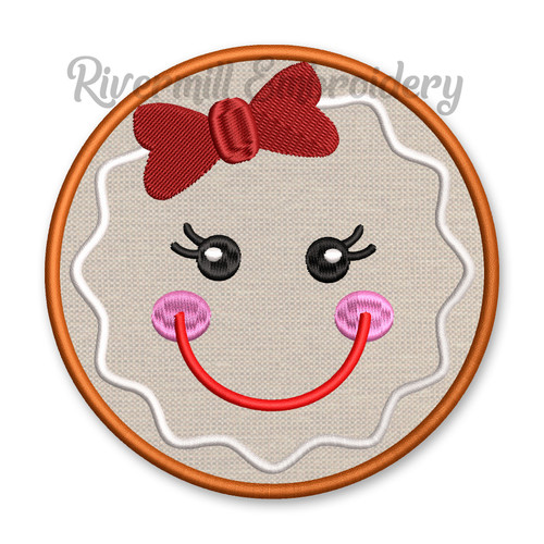 Round Gingerbread Girl Face Applique Machine Embroidery Design