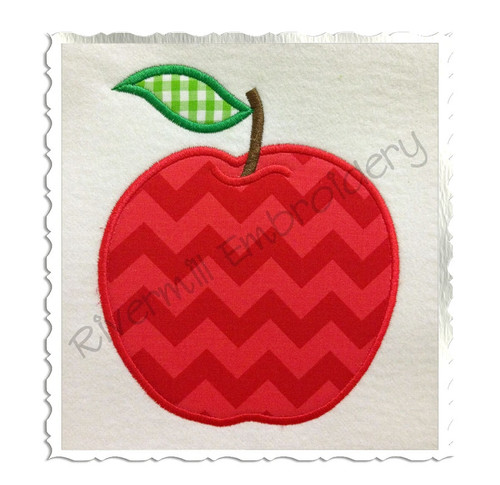 Applique Apple Machine Embroidery Design (Style #2)