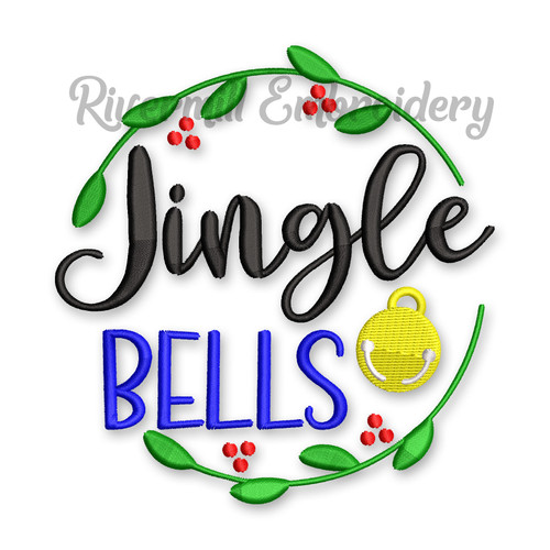 Jingle Bells in a Wreath Christmas Machine Embroidery Design