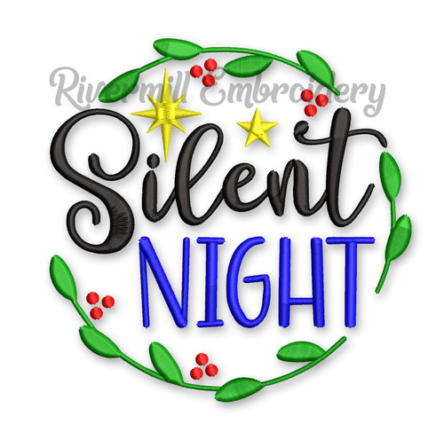 Silent Night in a Wreath Christmas Machine Embroidery Design