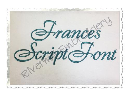 Frances Script Machine Embroidery Font Alphabet