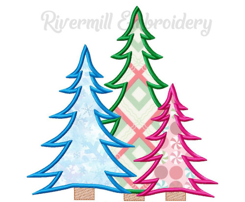 Applique Trio of Trees Machine Embroidery Design